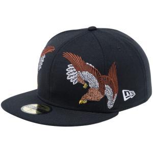 石川真澄×ニューエラ 5950キャップ オールオーバー 鷹 ブラック オフィシャルカラー スノーホワイト Masumi Ishikawa×New Era 59FIFTY Cap All Over Hawk|cio