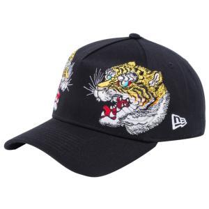 石川真澄×ニューエラ 940エーフレーム オールオーバー 虎 ブラック オフィシャルカラー ホワイト Masumi Ishikawa×New Era 9FORTY A-Frame All Over Tiger|cio