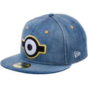 ミニオンズ×ニューエラ 5950キャップ マルチロゴ 一つ目 ウォッシュドデニム スノーホワイト Despicable Me Minion×New Era 59FIFTY Cap Multi Logo Eye|cio