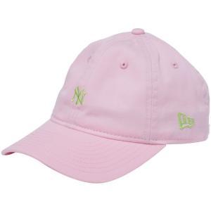 ニューエラ 920キッズキャップ クローズストラップ ウォッシュドコットン ニューヨークヤンキース ピンク グリーン New Era 9TWENTY Kids Cap Cloth Strap|cio