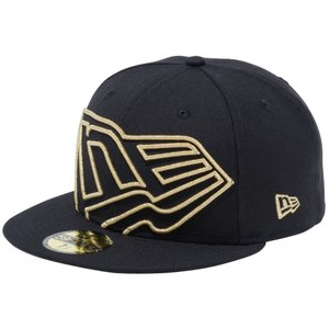 ニューエラ 5950 キャップ ゴールドロゴ ビッグフラッグロゴ ブラック メタリックゴールド New Era 59FIFTY Cap Gold Logo  Big Flag Logo Black Metallic Gold|cio