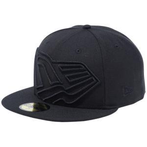 ニューエラ 5950 キャップ ブラックロゴ ビッグフラッグロゴ ブラック ブラック New Era 59FIFTY Cap Black Logo  Big Flag Logo Black Black|cio
