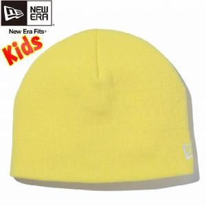 ニューエラ キッズニットキャップ ベーシック ビーニー 蛍光イエロー スノーホワイト New Era Kids Knit Cap Basic Beanie Neon Yellow Snow White|cio
