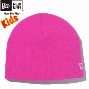 ニューエラ キッズニットキャップ ベーシック ビーニー 蛍光ピンク スノーホワイト New Era Kids Knit Cap Basic Beanie Neon Pink Snow White|cio