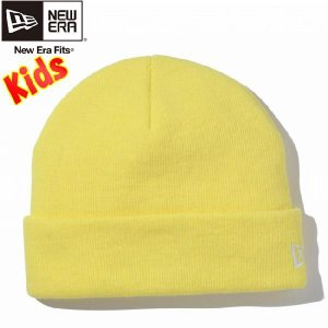 ニューエラ キッズニットキャップ ベーシックカフニット 蛍光イエロー スノーホワイト New Era Kids Knit Cap Basic Cuff Knit Neon Yellow Snow White|cio