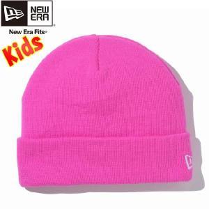 ニューエラ キッズニットキャップ ベーシックカフニット 蛍光ピンク スノーホワイト New Era Kids Knit Cap Basic Cuff Knit Neon Pink Snow White|cio