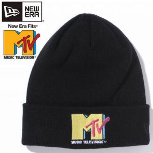 エムティーヴィー×ニューエラ ニットキャップ ベーシックカフニット マルチロゴ ブラック ブラック Mtv×New Era Knit Cap Bacic Cuff Knit Multi Logo Black cio