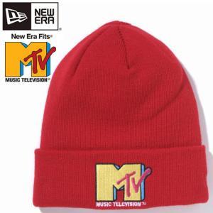エムティーヴィー×ニューエラ ニットキャップ ベーシックカフニット マルチロゴ スカーレット Mtv×New Era Knit Cap Bacic Cuff Knit Multi Logo Scarlet cio