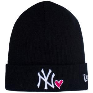 ニューエラ ニットキャップ ベーシックカフニット ハートロゴ ニューヨークヤンキース ブラック ホワイト New Era Knit Cap Heart Logo New York Yankees Black|cio