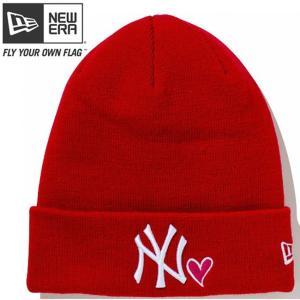 ニューエラ ニットキャップ ベーシックカフニット ハートロゴ ニューヨークヤンキース スカーレット New Era Knit Cap Heart Logo New York Yankees Scarlet|cio