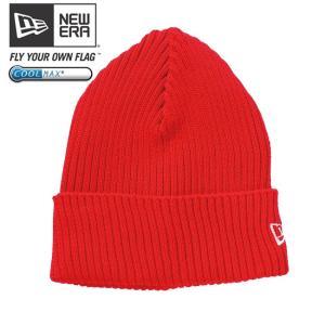 クールマックス(R)×ニューエラ ニットキャップ ミリタリーニット バーミリオン レッド ホワイト COOL MAX(R)×New Era Knit Cap Military Knit Vermilion Red|cio