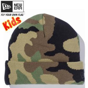 ニューエラ キッズニットキャップ ベーシックカフニット ウッドランドカモ ブラック New Era Kids Knit Cap Basic Cuff Knit Woodland Camo Black|cio