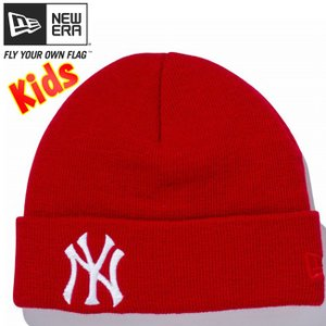 ニューエラ キッズニットキャップ ベーシックカフニット ニューヨーク ヤンキース スカーレット New Era Kids Knit Cap Basic Cuff Knit New York Yankees|cio