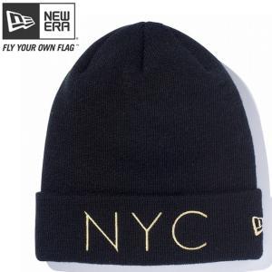 ニューエラ ニットキャップ ベーシックカフニット ニューヨークシティ ブラック メタリックゴールド New Era Knit Cap Basic Cuff New York City Black Gold|cio
