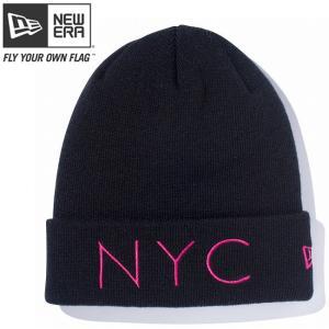 ニューエラ ニットキャップ ベーシックカフニット ニューヨークシティ ブラック ストロベリー New Era Knit Cap Basic Cuff New York City Black Strawberry cio