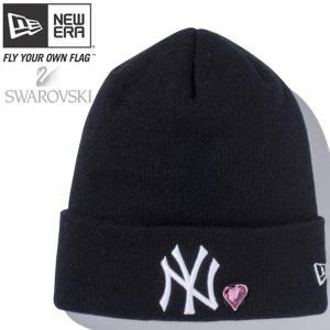 スワロフスキー(R)エレメンツ×ニューエラ ベーシックカフニット ハート ヤンキース ブラック Swarovski×New Era Basic Cuff Knit Heart Yankees Black|cio