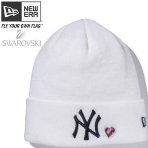 スワロフスキー(R)エレメンツ×ニューエラ ベーシックカフニット ハート ヤンキース ホワイト Swarovski×New Era Basic Cuff Knit Heart Yankees White|cio