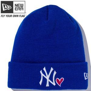 ニューエラ ニットキャップ ベーシック カフニット MLB ハートロゴ ヤンキース ロイヤル スノーホワイトNew Era Basic Cuff Knit MLB Heart Logo Yankees Royal|cio