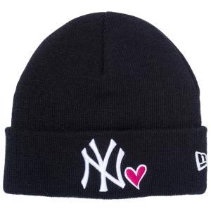 ニューエラ キッズニットキャップ ベーシック カフニット ハートロゴ ニューヨークヤンキース ブラック New Era Kids Basic Cuff Knit Heart New York Yankees cio