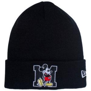 ディズニー×ニューエラ ニットキャップ ベーシックカフニット ミッキーマウス イニシャル ブラック Disney×New Era Knit Cap Basic Cuff Knit Mickey Initial|cio