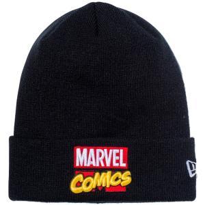 マーベル×ニューエラ ニットキャップ ベーシックカフニット マーベル・コミックロゴ ブラック ホワイト MARVEL×New Era Knit Cap Basic Cuff Knit|cio