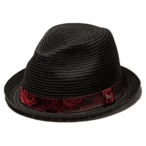 イーケーバイニューエラ ハット ザ フェドーラ ペーパーロープ ローズバンド ブラック レッド EK by New Era Hat The Fedora Paper Rope Rose band Black Red|cio