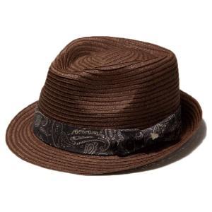 イーケーバイニューエラ ハット ザ トリルビー  ペーパーロープ ペイズリーバンド ブラウン グレー EK by New Era Hat The Trilby Paper Rope Paisley band|cio