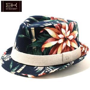イーケーバイニューエラ ハット ザ トリルビー ヴィンテージアロハ リネンバンド ネイビー EK by New Era Hat The Trilby Vintage Aloha Linen Band Navy|cio