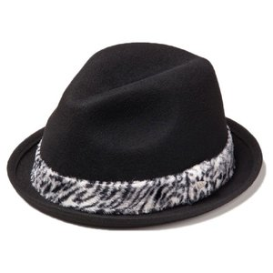 イーケーバイニューエラ ハット ザ フェドーラ ウール アニマルファーバンド ブラック ホワイト EK by New Era Hat Fedora Wool Animal Fur Band Black White|cio