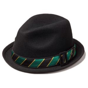 イーケーバイニューエラ ハット ザ フェドーラ ウール サテンバンド ブラック グリーン EK by New Era Hat The Fedora Wool Satin Band Black Green|cio