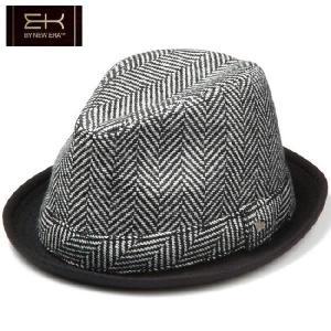 イーケーバイニューエラ ハット ザ フェドーラ ヘリンボーンウール ヘリンボーンバンド ブラック ホワイト EK by New Era Hat The Fedora Herringbone Wool|cio