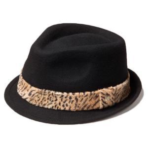 イーケーバイニューエラ ハット ザ トリルビー ウール アニマルファーバンド ブラック ゴールド EK by New Era Hat The Trilby Wool Animal Fur Band Black Gold|cio