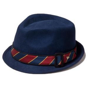 イーケーバイニューエラ ハット ザ トリルビー ウール サテンバンド ネイビー レッド EK by New Era Hat The Trilby Wool Satin Band Navy Red|cio