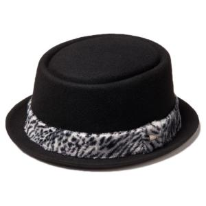 イーケーバイニューエラ ハット ザ ポークパイ ウール アニマルファーバンド ブラック ホワイト EK by New Era Hat Porkpie Wool Animal Fur Band Black White|cio