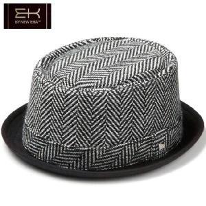 イーケーバイニューエラ ハット ザ ポークパイ ヘリンボーンウール ヘリンボーンバンド ブラック ホワイト EK by New Era Hat The Porkpie Herringbone Wool|cio