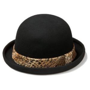 イーケーバイニューエラ ザ ボーラーハット ウール アニマルファーバンド ブラック ゴールド EK by New Era Hat The Bowler Wool Animal Fur Band Black Gold|cio