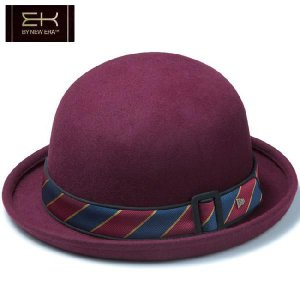 イーケーバイニューエラ ザ ボーラーハット ウール サテンバンド ワインレッド ネイビー EK by New Era Hat The Bowler Wool Satin Band Wine Red Navy|cio