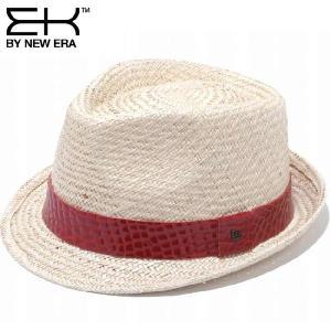 イーケーバイニューエラ ハット シリーズ81 ザ トリルビー パームストロー レザーバンド レッド EK by New Era Hat Series 81 The Trilby Palm Straw Band Red|cio