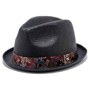 イーケーバイニューエラ ハット ザ フェドーラ ペーパーストロー ペーズリー ジャカード バンド ブラック EK Hat  Fedora Paper Straw Paisley Jacquard Band cio
