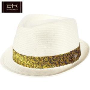 イーケーバイニューエラ ハット ザ トリルビー ペーパーストロー フローラル バンド ナチュラル EK by New Era Hat Fedora Paper Straw Floral Band Natural cio