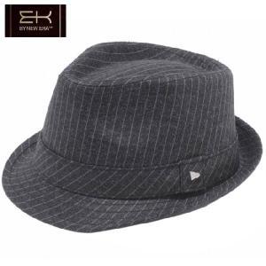 イーケーバイニューエラ ハット ザ トリルビー ウール ピンストライプ ブラック グレー シルバー EK by New Era HAT The Trilby Wool Pinstripe Black Glay|cio