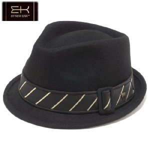 イーケーバイニューエラ ハット ザ トリルビー ウール レジメンタル ストライプバンド ブラック ゴールド EK by New Era Hat The Trilby Wool Stripe Band Black|cio