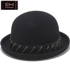 イーケーバイニューエラ ザ ボーラーハット ウール レジメンタル ストライプバンド ブラック ゴールド EK by New Era Hat The Bowler Wool Stripe Band Black|cio
