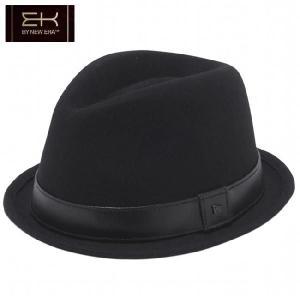 イーケーバイニューエラ ハット シリーズ81 ザ フェドーラ ブラック リアルレザーバンド ブラック EK by New Era Hat Series 81 The Fedora Leather Band Black|cio
