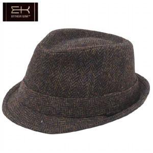 イーケーバイニューエラ ハット シリーズ81 ザ トリルビー ウール ハリスツイード ブラウン  EK by New Era Hat Series 81 The Trilby Harris Tweed Brown|cio