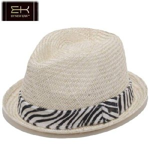 イーケーバイニューエラ ハット シリーズ81 ザ フェドーラ パームストロー ゼブラ レザー ナチュラル EKbyNewEra Hat Series81Fedora ZebraLeather Natural|cio