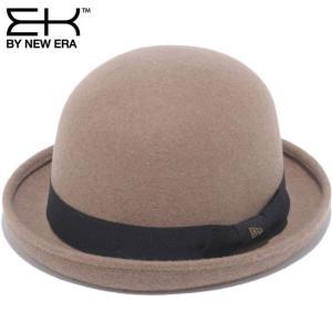 イーケーバイニューエラ ザ ボーラーハット ベージュ ブラックグログランバンド ゴールド EK by New Era Hat The Bowler Beige Black Grosgrain Band Gold|cio