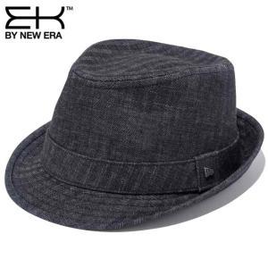 イーケーバイニューエラ ハット ザ トリルビー デニムヘリンボーン ブラック ブラック シルバー EK by New Era Hat The Trilby Denim Herringbone Black Silver|cio