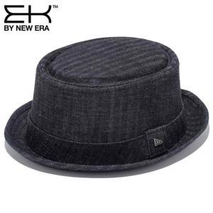 イーケーバイニューエラ ハット ザ ポークパイ デニムヘリンボーン ブラック ブラック シルバー EK by New Era Hat The Fedora Denim Herringbone Black Silver cio