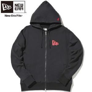 ニューエラ ジップアップフーディー フラッグロゴ ブラック レッド New Era Zip Up Hoodie Flag Logo Black Red|cio